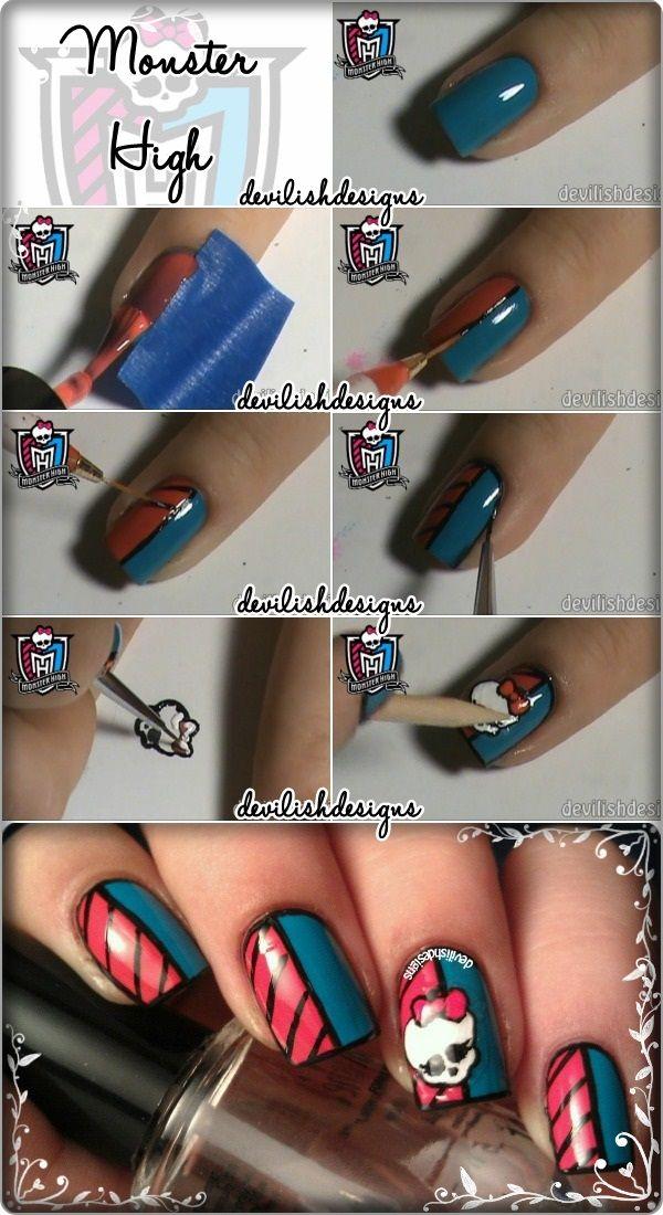Monster High Tutorial for nail art! @fngnovelties
