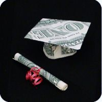 money mortarboard graduation cap