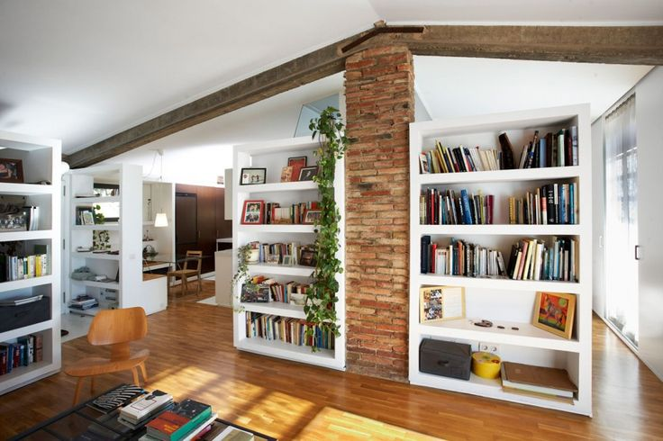 Beautiful Rustic Interior Design In Home Library Using White Bookshelf And Brick Wall Decor Combined With Wooden Flooring Ideas