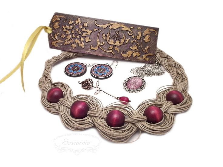 Purple set: linen necklace, wire-wrapped rose, folk decoupage earrings, pendant with glass cabochon and wooden bookmark