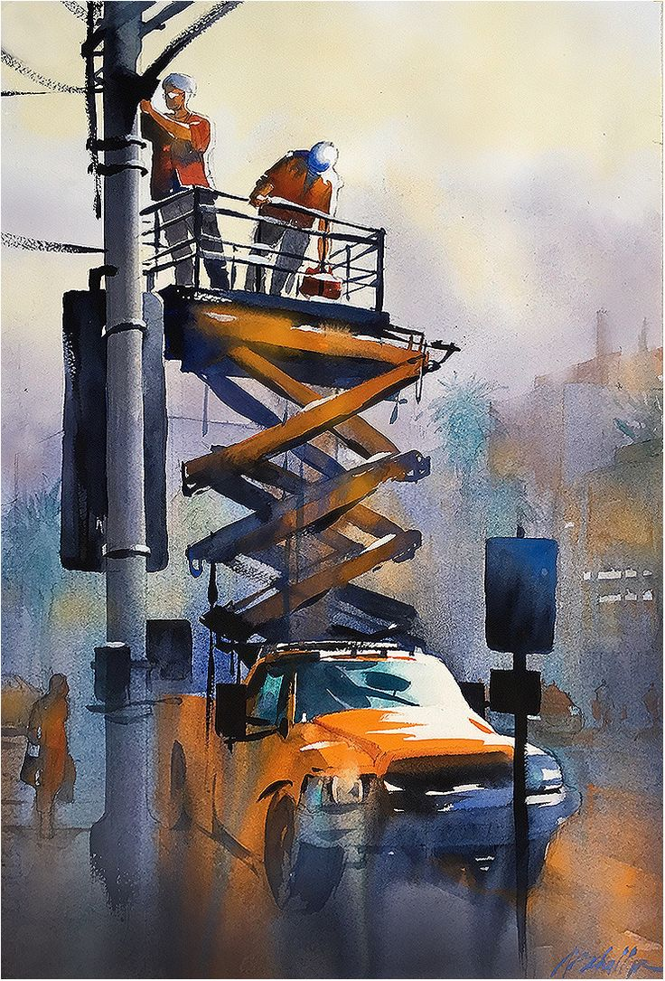 Watercolor artist magazine palm coast fl - Up Early Venice By Thomas W Schaller Watercolor 22 Inches X 14 Inches