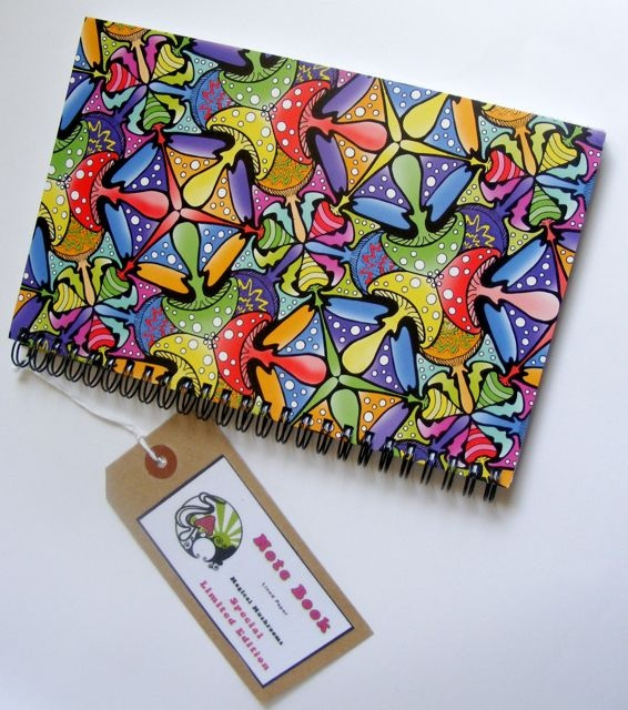 A notebook featuring my pattern design, Magical Mushrooms :)