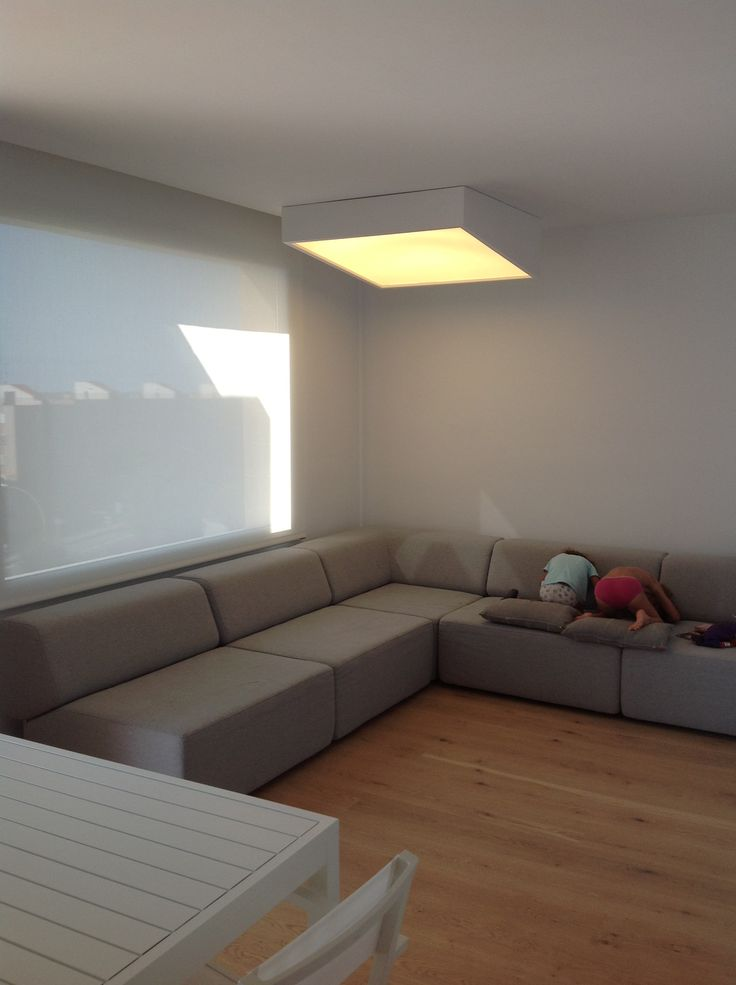 Light on! Noa sofa by danish brand #softline screen white curtain by spanish brand #bandalux and Plus light by #vibia (also spanish)