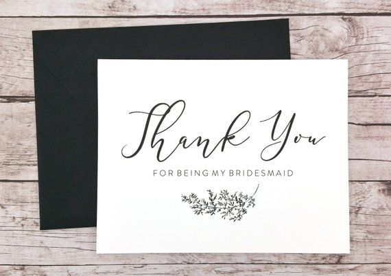 Thank You For Being My Bridesmaid Card Bridesmaid Thank You Card