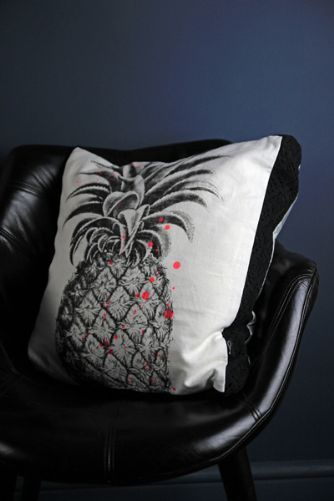 Pineapple Cushion - Black  White with Neon Pink
