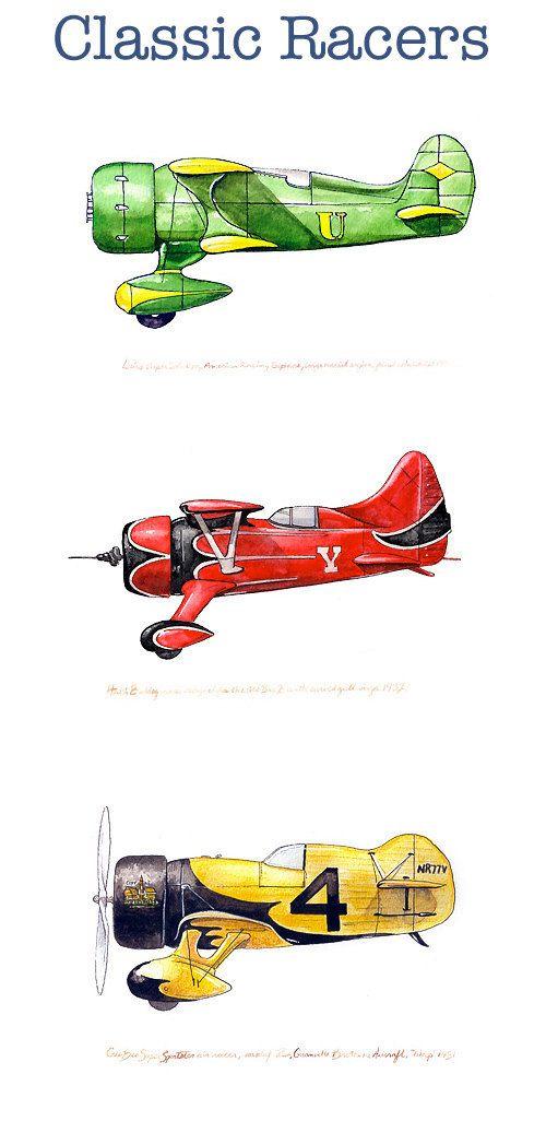 Gee Bee Z Wasp vintage racing watercolor print by FlightsByNumber