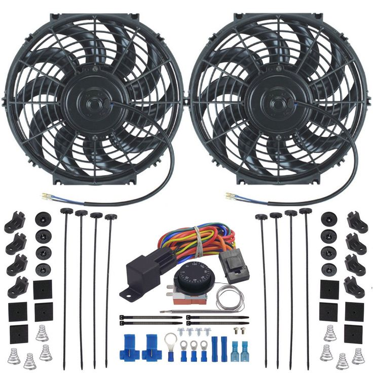 "Double 12"" Inch Electric Radiator Fan-S Adjustable Temp Thermostat Control Kit"