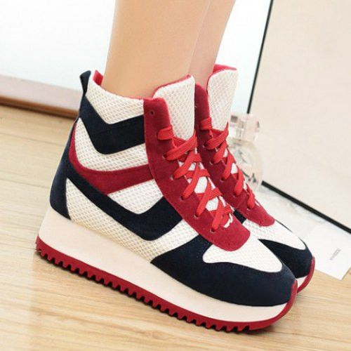 Trendy Mesh and Color Block Design Women's Athletic Shoes