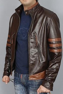 X MEN WOLVERINE Brown Biker GENUINE Leather Jacket all sizes HALLOWEEN COSTUME