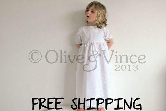 Organic toddler night dress white short sleeve nightie long dress christening naming ceremony wedding flower girl gown sleepwear nightdress