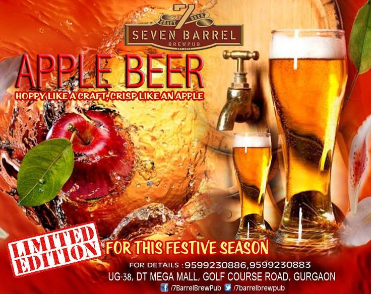 Guests at 7 Barrel Brew Pub will have a glass of very special, rare and limited edition of freshly brewed Apple Beer for a midnight toast. Specially brewed for New year Eve and this festive season, Apple Beer has already become a reason for many guests to come back repeatedly this week for more and more. Don't miss your chance to relish this amazing taste this season... #applebeer #newyeareve #newyearparty #microbreweriesingurgaon