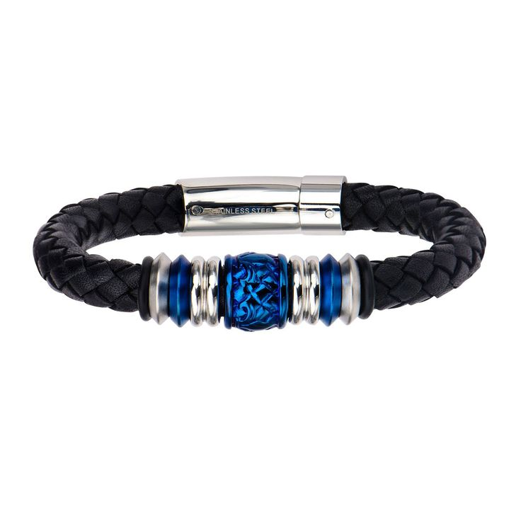 Men's Steel and Blue IP Bead in Black Braided Genuine Leather Bracelet with …   – Products