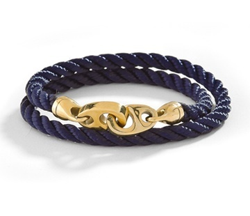 Sailormade double wrap sailing rope Endeavor bracelet with brass brummel hook closure .