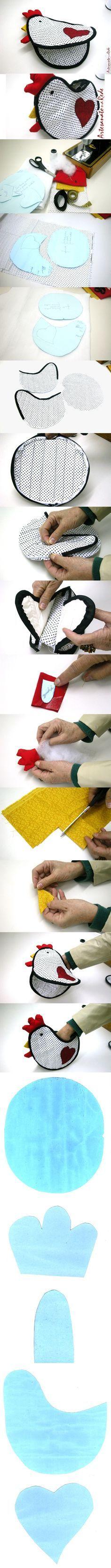 How to make chicken potholders - step by step images. - - - - - - - - - Pegador de Panelas galinha