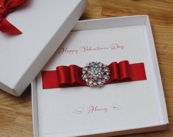 Luxury Boxed Valentines Day Card With Dazzling Crystal