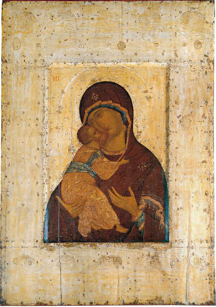 """Andrei Rublev (?) icon """"Virgin of Tenderness of Vladimir."""" The end of XIV - early XV century From the Assumption Cathedral in Vladimir."""
