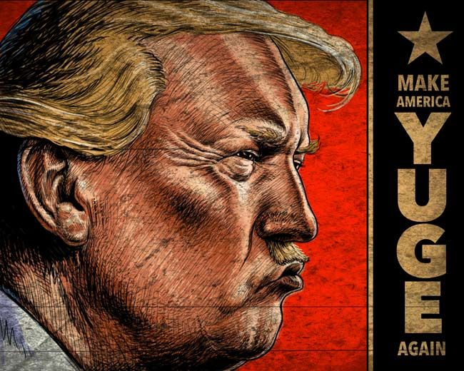 Donald Trump with a hitler style moustache making America Yuge again