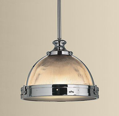 Prod740064 -The design of this pendant light recalls turn-of-the-century lamps used in train stations. The prismatic glass provides diffused light with an industrial edge for your Grand Central Station (the kitchen, right?).