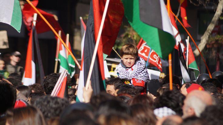 Palestino se manifestaron en el centro de Santiago.