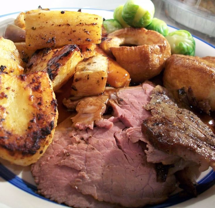 "English Roast Beef (rare) with all the trimmings - ""What a meal"""