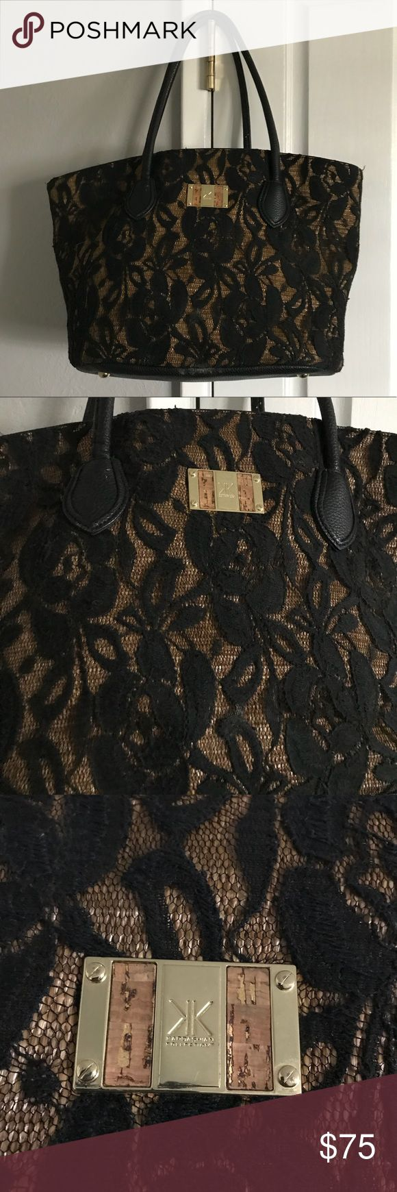 ⭐️MAKE OFFERS! Kardashian kollection lace bag Gorgeous bag with gold details and a lace overlay all over. Super roomy and sturdy. Fits a lot of stuff! No flaws. Has been used but is in amazing condition. Always open to reasonable offers! Kardashian Kollection Bags