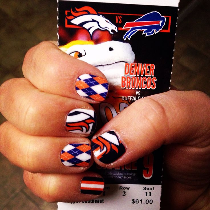 Broncos nails for the game tomorrow! Hell Yeah!! #ididthemmyself #hairspraytrick #jamberry #NAS