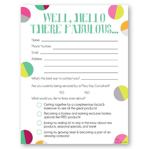 This is a great contact card for Mary Kay vendor shows! Customize the bottom four options of what they would like to hear more about! Find it only at www.thepinkbubble.co!