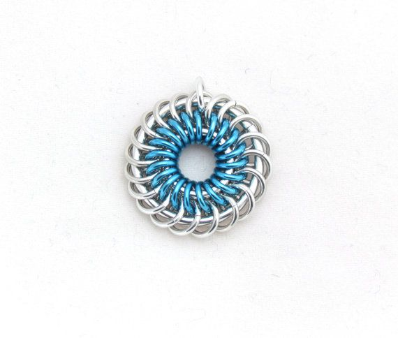 Blue Chain Maille Pendant Jump Ring Jewelry Blue by XairianMaille, $20.00