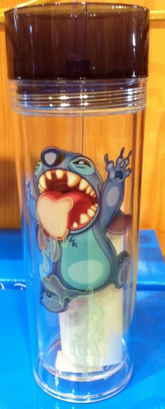 Lilo Stitch Travel Water Bottle Tumbler Cup with Straw Disney Theme Parks NEW