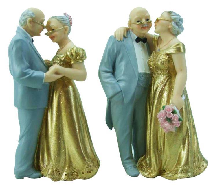 Gouden Bruidspaar Bruidegom in Grijs Pak