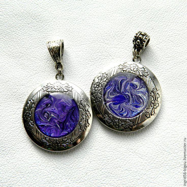 Купить Подвеска кулон медальон для фото открывающийся фиолетовый сиреневый - фиолетовый, украшения ручной работы