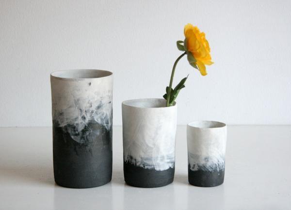 Black & White Ombre Cylinder Vases