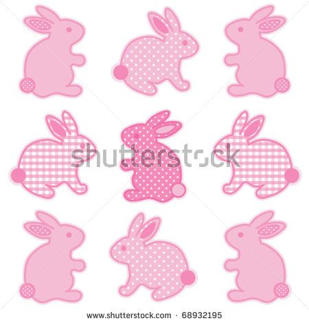 vector - Baby Easter Bunnies. Nine little bunny rabbits in pastel pink gingham check & polka dots for baby books, scrapbooks, albums, holidays. EPS8 organized in groups for easy editing.