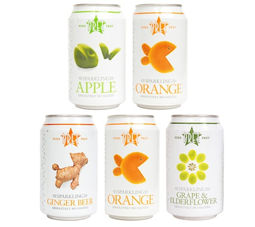 Pret a Manger soft drinks...Pretty cans.