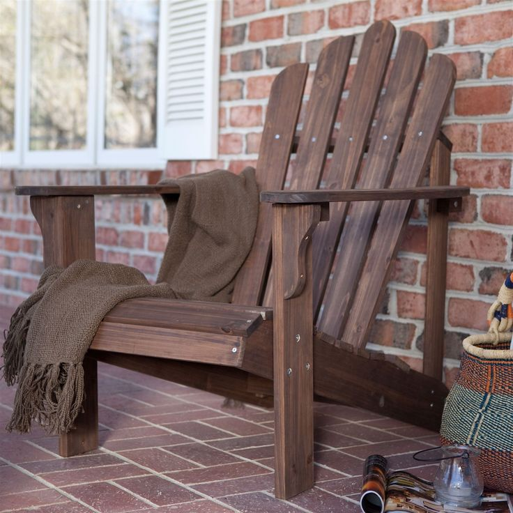 Durable Outdoor Patio Wooden Adirondack Chair in Dark Brown Finish