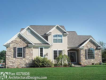 House Plan 40718DB built in Michigan gives you 4 beds plus a guest room. And a stucco and stone exterior.