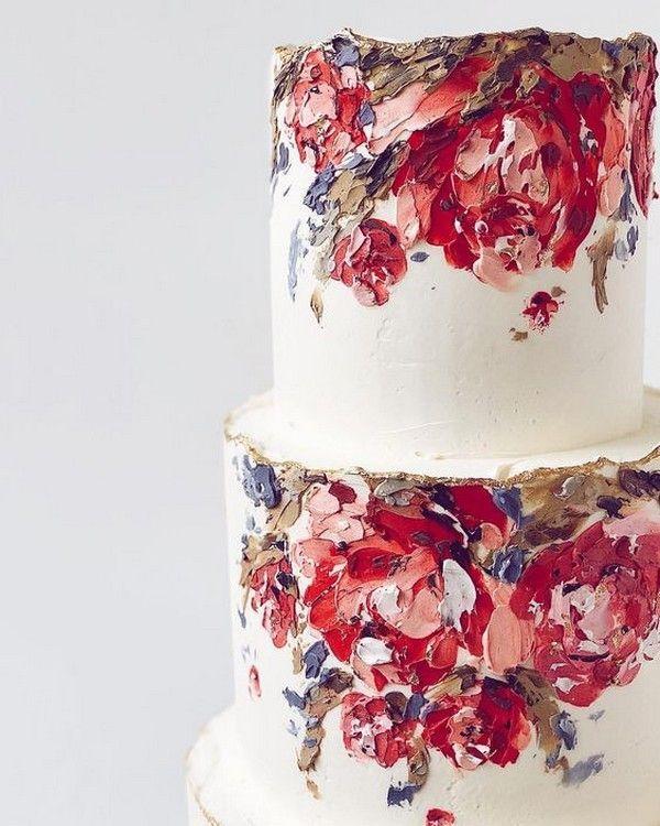 trendige handbemalte hochzeitstorte ideen   – Wedding Inspiration – #handbemalte…
