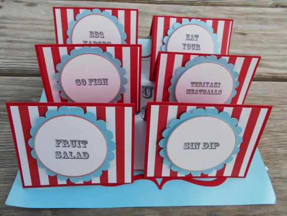 NEW...Vintage Carnival/Circus Party Collection Food Tent Labels (Set of 6) Shimmer Blue/red/white/gray