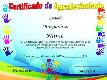 Certificado de Agradecimiento para padres