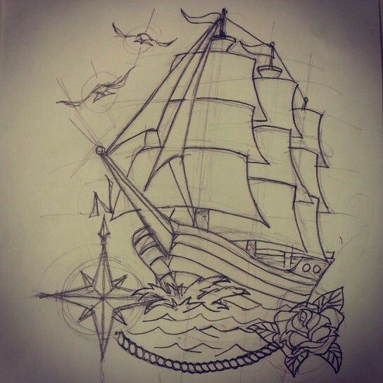 Traditional Ship Drawing Traditional ship tattoo (rough