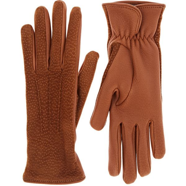 Barneys New York Women's Dotted Deerskin Gloves ($375) ❤ liked on Polyvore featuring accessories, gloves, brown, dot gloves, deerskin gloves, brown gloves, deerskin leather gloves and barneys new york