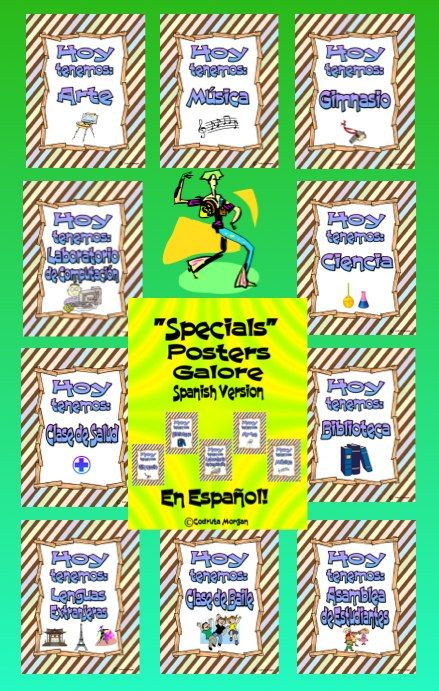 "These are Specials Posters - in Spanish - that cover most Specials in both regular public schools and charter/private schools. Great for any Spanish Immersion Program. Each poster has the following text: ""Hoy tenemos:"" followed by one of the Specials listed below: •	Gimnasio •	Biblioteca •	Laboratorio de Computación •	Ciencia •	Arte •	Clase de Salud •	Música •	Clase de Baile •	Clase de Jardinería •	Teatro/Drama •	Lenguas Extranjeras •	Clase de Cocina •	 Asamblea de Estudiantes •	Blank poster"
