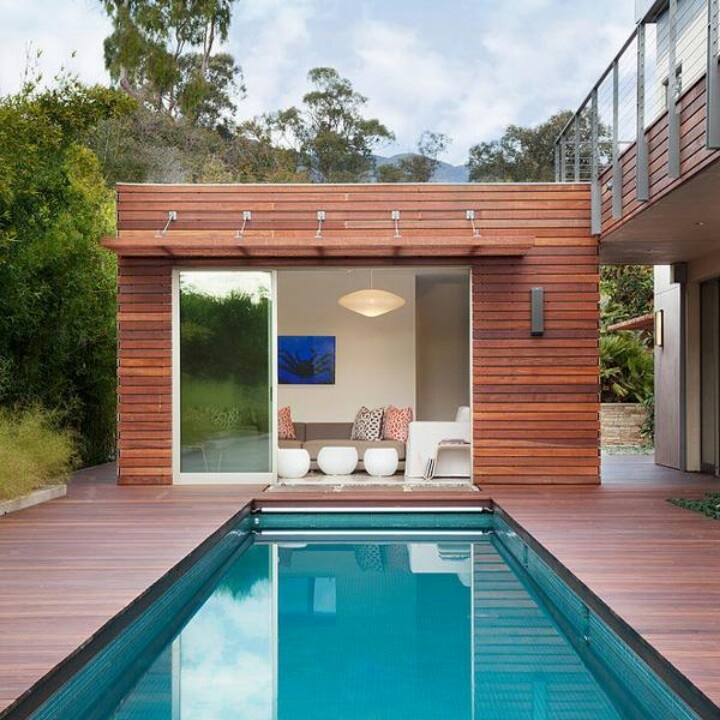 Contemporary Pool House: Modern Cabana