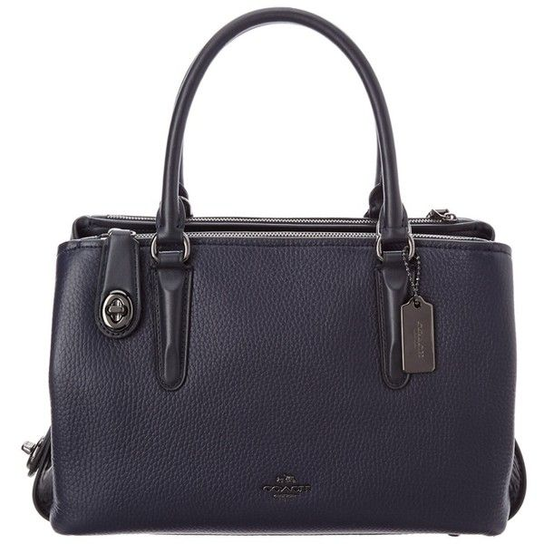 Coach Coach Brooklyn 28 Leather Carryall   Bluefly.Com (24.150 RUB) ❤ liked on Polyvore featuring bags, handbags, navy, blue handbags, genuine leather handbags, handbag purse, navy purse and blue leather purse