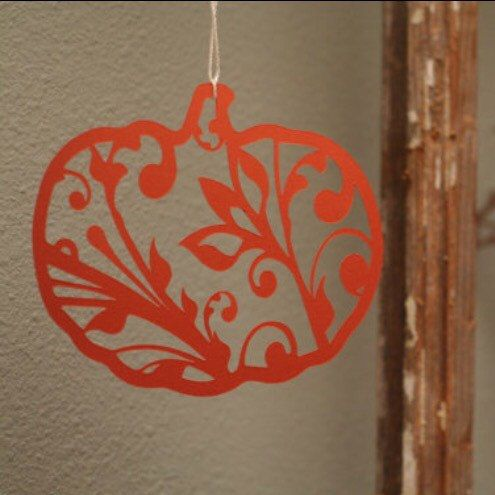 Our newest fall decor item! Gorgeous filigree pumpkin paper cut-out. Goes beautifully with the coordinating leaves!