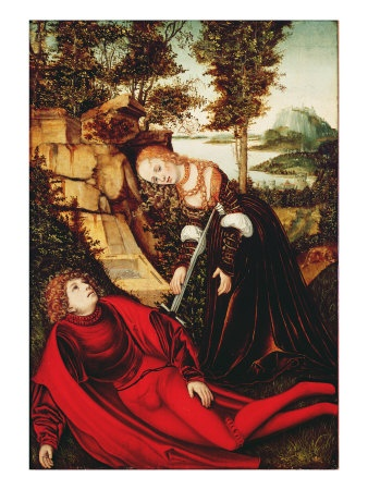Pyramus and Thisbe by Lucas Cranach the Elder (1472-1553). Original painting located at the Neue Residenz, Bamberg, Germany.