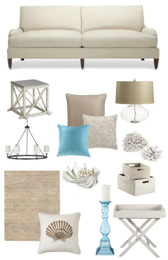 Hamptons Style Living Room Neutral Aqua Home Pinterest