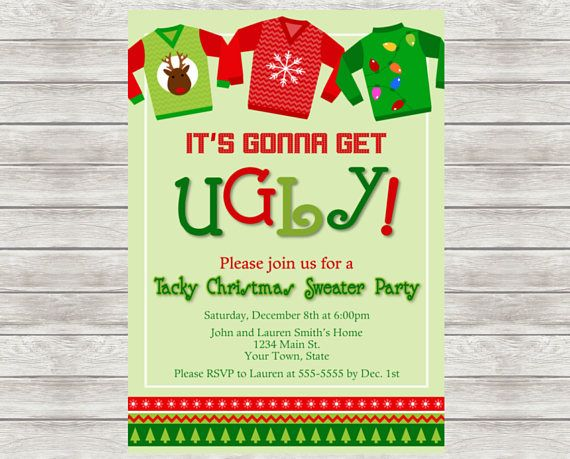 Ugly Sweater Party Invitation Tacky Sweater Christmas Party