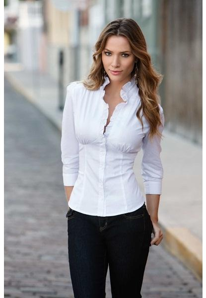 $22.90 RUFFLE FRONT COTTON DRESS SHIRT - At Body Central