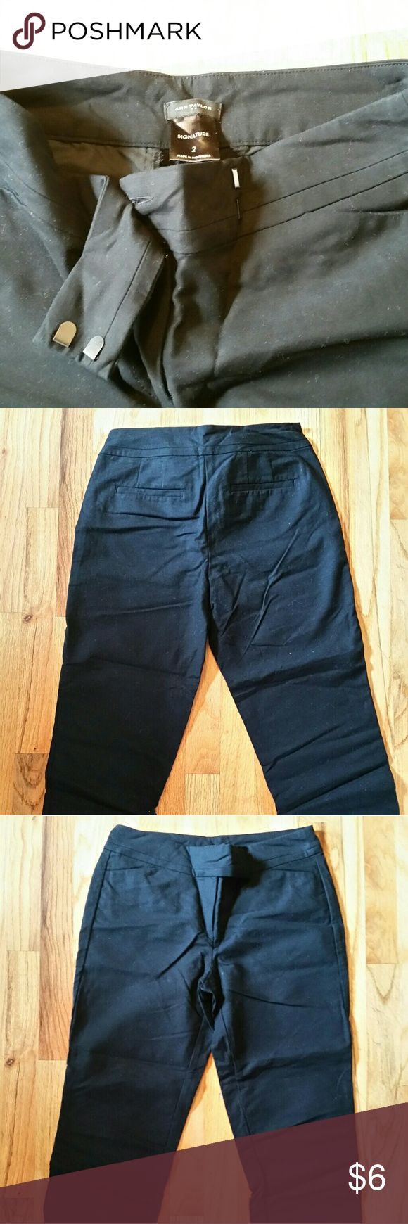 Black Cropped Trousers These are Ann Taylor cropped trouser pants. They are black and have been gently worn. They hit midcalf and are great to wear as a business casual look. The fit us Ann Taylor's signiture style! They are a size 2. Ann Taylor Pants Ankle & Cropped